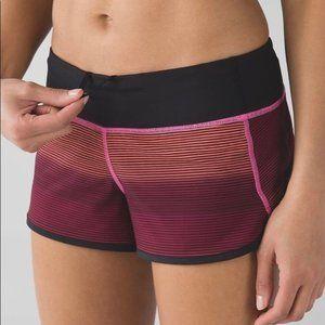 Lululemon Speed shorts pink orange stripe ombre